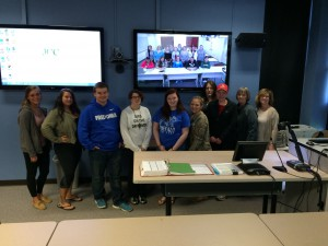 Students shown in Jamestown and Olean with their Instructor, Theresa Baginski at the JCC Distance Learning lab. Theresa is a member of the Zonta Club of Jamestown and is taking birthing kits on their journey.