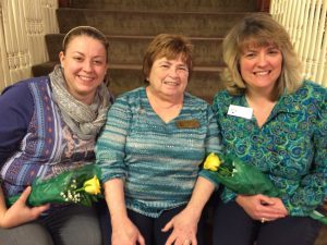 New Zonta Club members, Jennifer Peck-Wells (L) and Kerry Mihalko (R) are pictured with Ellen Munella (middle) on the stairs at the Marvin House in Jamestown.